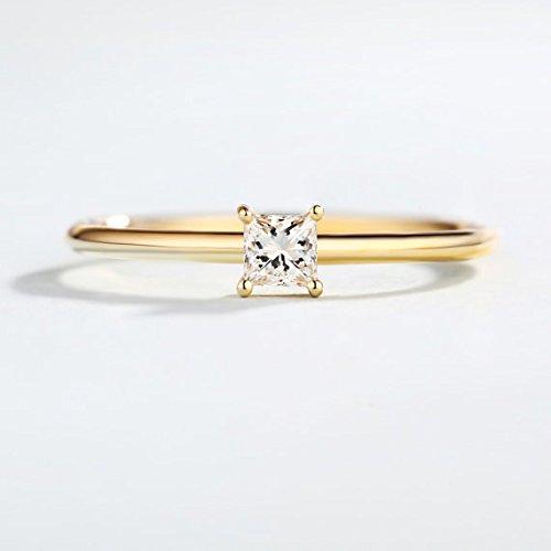 a137c8e1f2 0.2 Carat Princess Cut Diamond Engagement Ring Solid 14k Yellow Gold Square  Minimalist Thin Plain Wedding Band Solitaire Women Bridal Anniversary Gift  ...