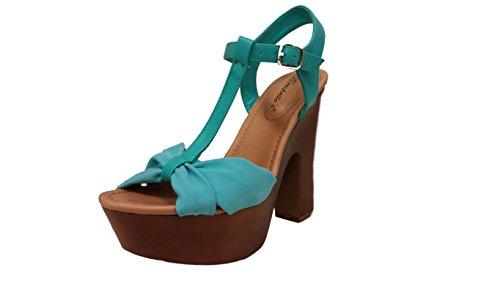 Breckelles Womens T-Strap Strappy Bow Open Toe Chunky Platform Heel Sandal Aqua* 66t6Qh