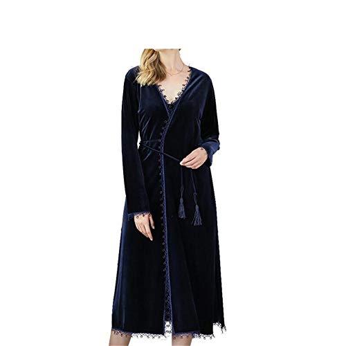 Camisón nbsp; Conjunto nbsp; Invierno Terciopelo Mmllse Sexy Femenino De nbsp;pijama Largo Blue HRqSw4x
