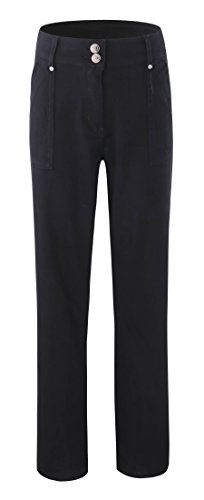 Work Pants Slacks (Bienzoe Women's Fashion Causal Twill Stretch Straight-Leg Pants Black Size 18)