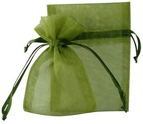 18 x 24 cm color verde oliva joyas boda bolsas de Organza 100 unidades