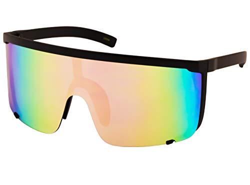Elite Unisex Oversized Super Shield Mirrored Lens Sunglasses Retro Flat Top Matte Black Frame (Pink Blue ()