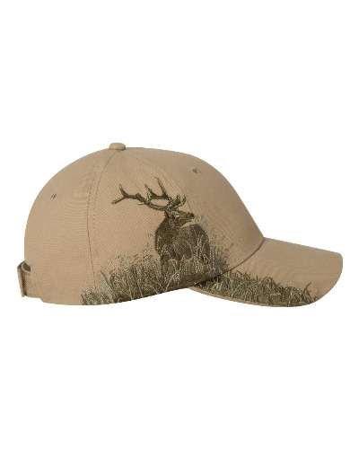 Adj Cap Khaki - DRI DUCK Wildlife Series Caps, Khaki - Elk (3259), ADJ