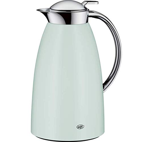 Decanter Mint - Alfi Gusto Glass Vacuum Lacquered Metal Thermal Carafe for Hot and Cold Beverages, 1.0 L, Mint Green