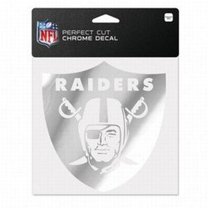 (WinCraft NFL Oakland Raiders Chrome Perfect Cut Decal, 6 x 6, Black)