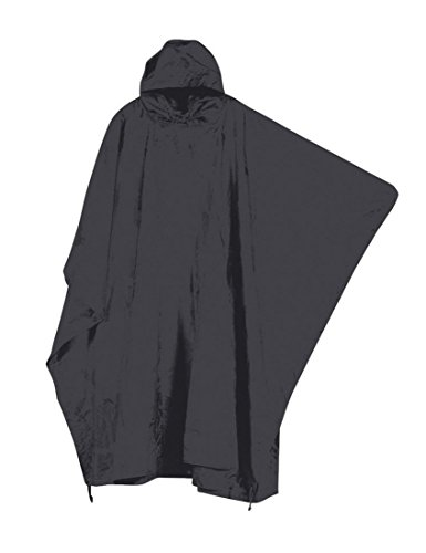 Mil-COM impermeable Nylon Ripstop Army poncho senderismo Festival Camping negro