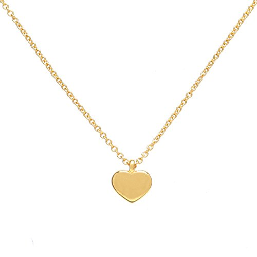 Small Heart (Small Heart Pendant Necklace, 24K Gold Plated Solid Heart pendant necklace, 16