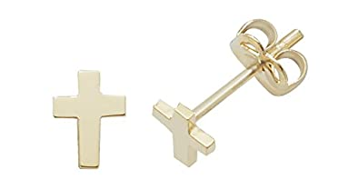 9ct Gold Ladies Cross Stud Earrings - 11mm*7mm rT0P8mxNqY