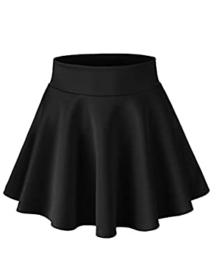 H2H Womens Stretchy Scuba Elastic Waist Band A-Line Flared Swing Skirt