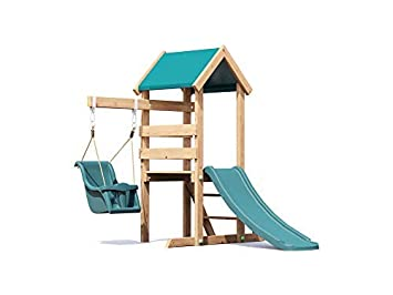 Dunster House Wooden Toddlers Outdoor Climbing Frame Pressure Treated Baby Swing Age 1 To 3 Years Old Childrens Garden Slide Play Tower
