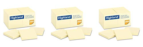 Highland Notes, 3 x 3-Inches, Yellow, 72-Pads, 3 Pack