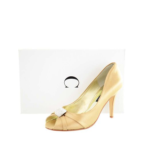 (Caparros New Infinity Ladies Open Toe Heels Shoes Gold 8.5 M)