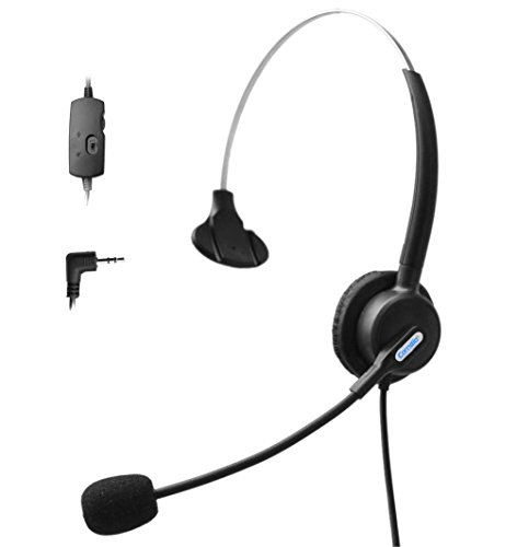 Comdio 2.5mm Call Center Telephone Headset Headphone with Mic + Volume Mute Controls for Polycom SoundPoint Pro Zultys Technologies AT&T SB67158 SB67148 SB67138 SB67118 SB67108 IP Phones (H103VP6)