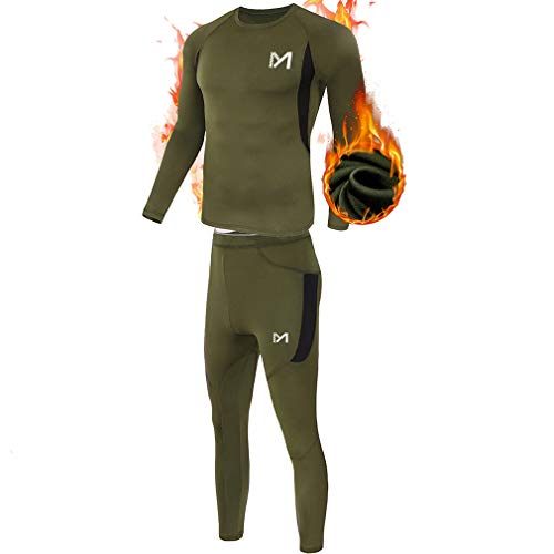Men's Thermal Underwear Set, Sport Long Johns Base Layer for Male, Winter Gear Compression Suits for Skiing Running Green