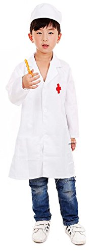 [ShonanCos Kids Doctor Costume Nurse Uniform With Hat Children Halloween Cosplay (3'1.4