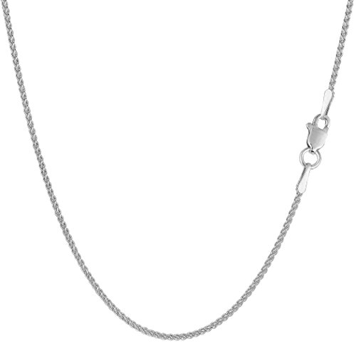 14k White Gold Round Wheat Chain Necklace, 1.2mm, 24'' by JewelryAffairs