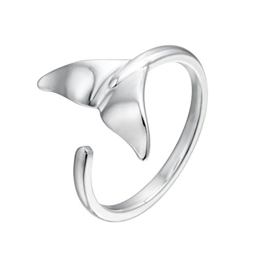 Cxwind 925 Sterling Silver Lovely Whale Fish Tail Animal Open Ring Birthday Christmas Gift Women Girls -