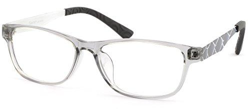 (Plastic Light Unisex Frame Metal Arms Rectangular Prescription Glasses Translucent)