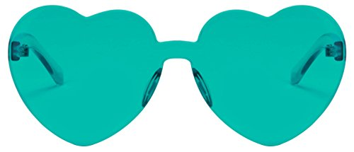 Price comparison product image One Piece Heart Shaped Rimless Sunglasses Transparent Candy Color Eyewear (lake blue)