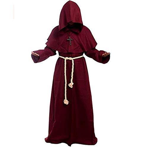 Adult Medieval Monk Robe Costume Wizard Priest Cloak Role Play Costumes Christian Cape (Medium, Red)