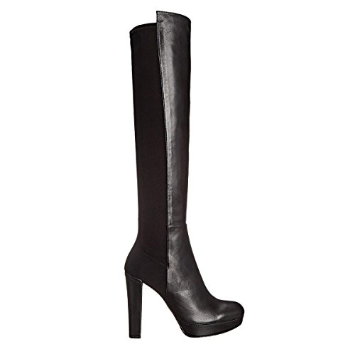 Black Mujer Wide Para High Negro Fit Knee Stretch Suede L YC Calf Botas Calf Boots Heel Chunky Tallas twqzT6E