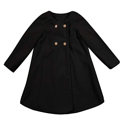 Baby Outwear Cloak 0-5 Years Old,Infant Toddler Girls Kids Fall Winter Button Jacket Warm Cardigan Coat Clothes (2-3 Years Old, Black) ()