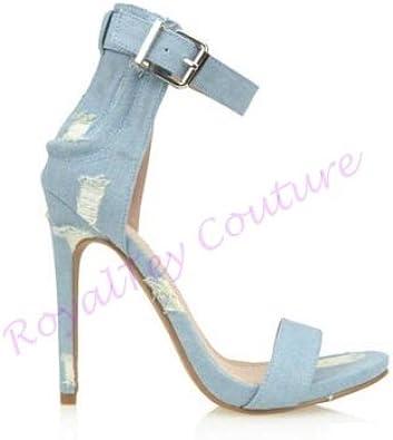 RoyalTey Light Blue Denim Heels