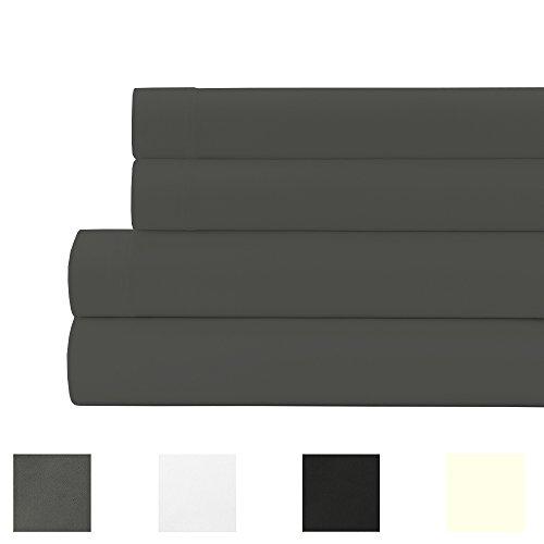 15 Deep Pocket Sheet Set - 400 Thread Count 100% Egyptian Cotton 15 Inches Deep Pocket Sheet Set, Dark Grey Solid Cal King Sheets 4 Piece Set