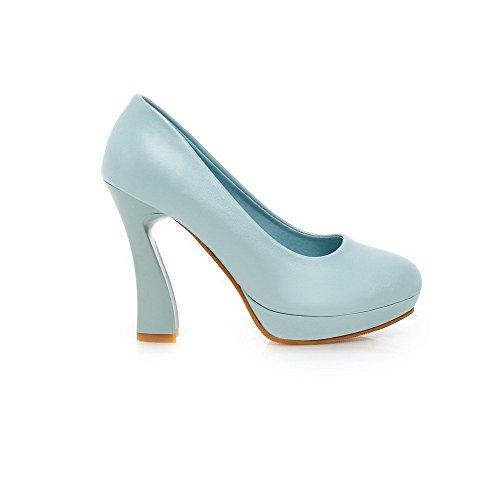 Amoonyfashion Donna Pu Solido Tacco A Spillo Tacco Piattaforma Tacchi Alti Scarpe-scarpe Blu