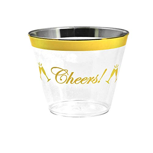 - Gold Rimmed Disposable Plastic Cups - Elegant Cheers! Inscription - Tumblers for Weddings, Holidays, Birthdays & Special Occasions - 100 Crystal Clear Old Fashioned Glasses, Great for Wine & Cocktails