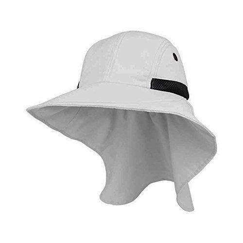 - Altis Apparel 4 Panel Large Bill Soft Bucket w/ Neck Flap Hat Sun Cap (White)