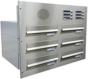 LETTERBOX24.de B-042 - Sistema de buzón de pared con timbre y filtro para hablar (6 unidades, acero inoxidable, profundidad: 39-62 cm)