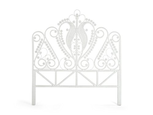 Room Twin Headboard Magic - Kouboo 1110049 Peacock Rattan Headboard, Twin Size, White