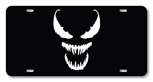 Venom Spider Evil Eyes Super Villain Novelty License Plate Custom Decorative Front Plate Cover for US Vehicles 4 Holes (12