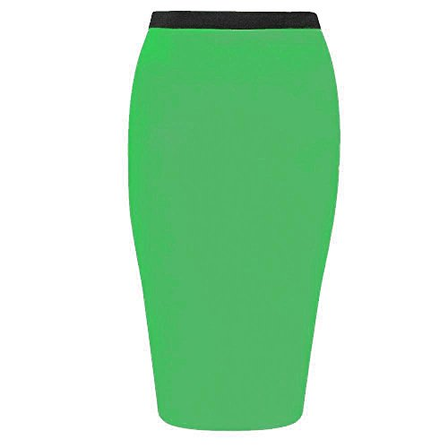 Janisramone Womens Plain Office Work Pencil Ladies Stretch Bodycon Mini Midi Skirt Size 8-26 Vert