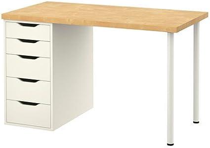 IKEA LINNMON / ALEX - Mesa, abedul, blanco £ 80 - 120x60 cm ...