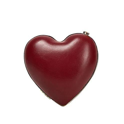 ELEGENCE-Z Clutch Handbag, Simple Red Peach Heart Shaped Evening Bag Fashion Love Dinner Bag Lady Hand Strap Bag - 20.0 cm 20.0 cm 5.0 cm (Red Shaped Beaded Heart Purse)