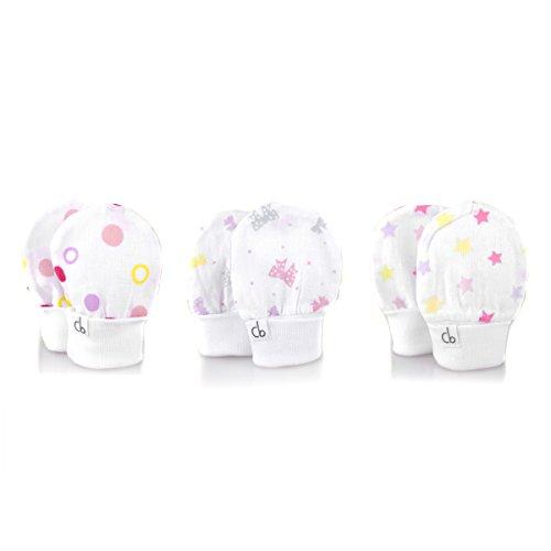 No Scratch Gauze Baby Girl Pink Mittens Set of 3 (0-6m)