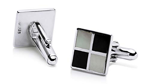 - Sterling Silver Chessboard Black Onyx & Mother of Pearl Cufflinks