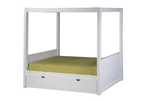 Solid Wood Canopy - Camaflexi Panel Style Solid Wood Canopy Bed with Drawers, Twin, White