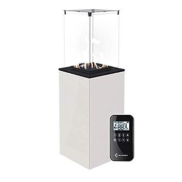 flig Estufa de Gas de Exterior 127,6 x 39,8 x 39,4 cm Gastonia Mini Blanco Brillante con Mando a Distancia y Cristales: Amazon.es: Hogar