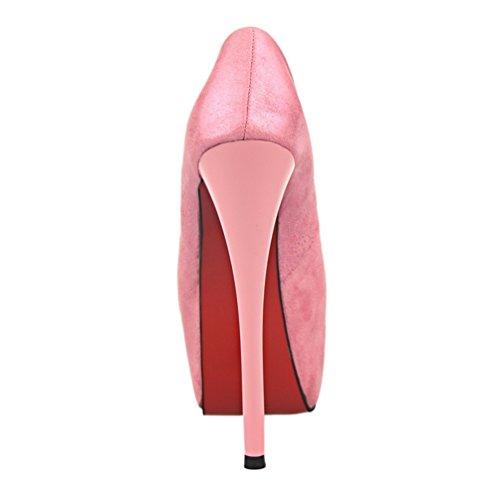 HooH Damen Peep Toe Platform Spleißen Stiletto Sandalen Rosa
