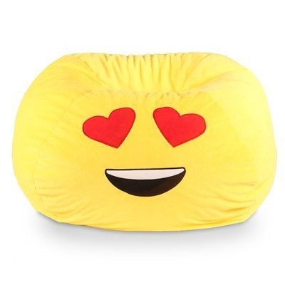 GoMoji Emoji Ergonomic, Heart Eyes Soft Fur, Durable, Very Comfortable Bean Bag Chair Love Yellow by Generic