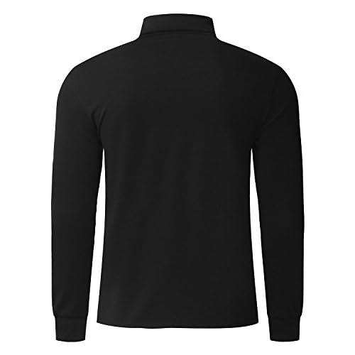 aa65d425a8a5 MODCHOK Homme T-shirt à Manches Longues Top Tee Pull Col Roulé Haut Slim Fit