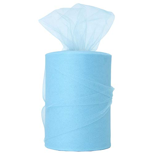 XiangGuanQianYing Light Blue Tulle Spool 6 Inch x 100 Yards for Tulle Decoration