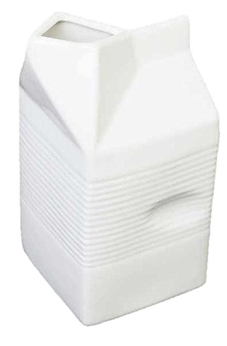 Large White Ceramic Milk / Cream Serving Carton Jug with Finger Print Easy Grip