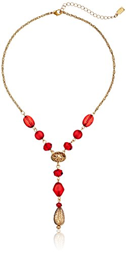 """1928 Jewelry """"Cyprus"""" Gold and Red Drop Y-Shaped Necklace"""