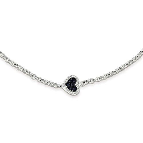 Argent Sterling diamant et saphir JewelryWeb Bracelet-Coeur
