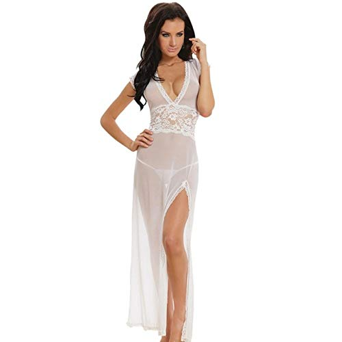 Positive Sexy Long Dressing Night Gown Sheer Transparent Dress Evening  Nightgown-Medium Size White  Amazon.in  Clothing   Accessories 404f17ae9