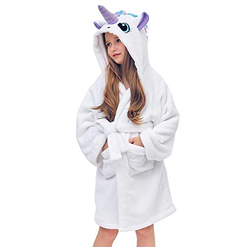 Beinou Unicorn Kid Robes Fleece Kid Bathrobe Rainbow Sleepwear for Girls Soft Long Shower Robe